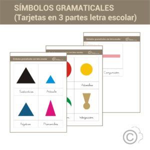 Símbolos gramaticales. Tarjetas 3 partes (escolar)