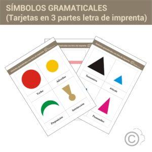 Símbolos gramaticales. Tarjetas 3 partes (imprenta)