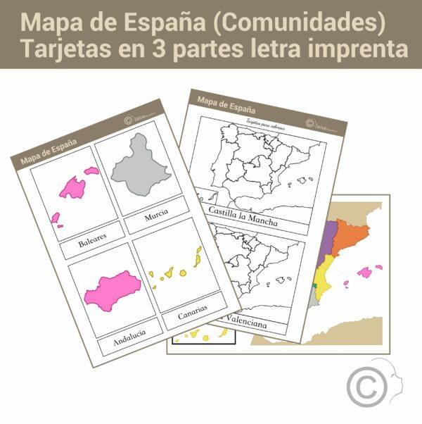 Mapa de España letra de imprenta (comunidades)