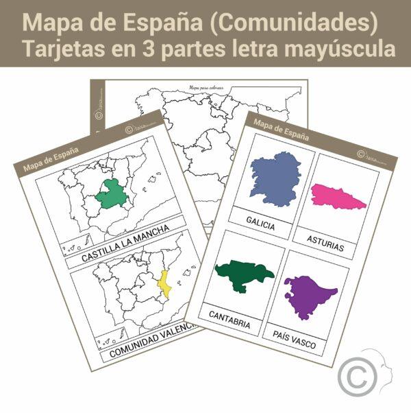 Mapa de España letra mayúscula (comunidades)