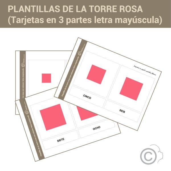 Plantillas torre rosa con letra (imprenta)