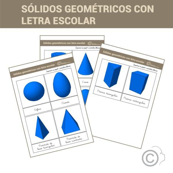 Sólidos geométricos. Terjetas 3 partes.