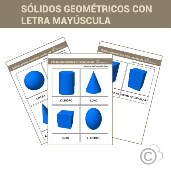 Sólidos geométricos. Tarjetas 3 partes letra escolar.